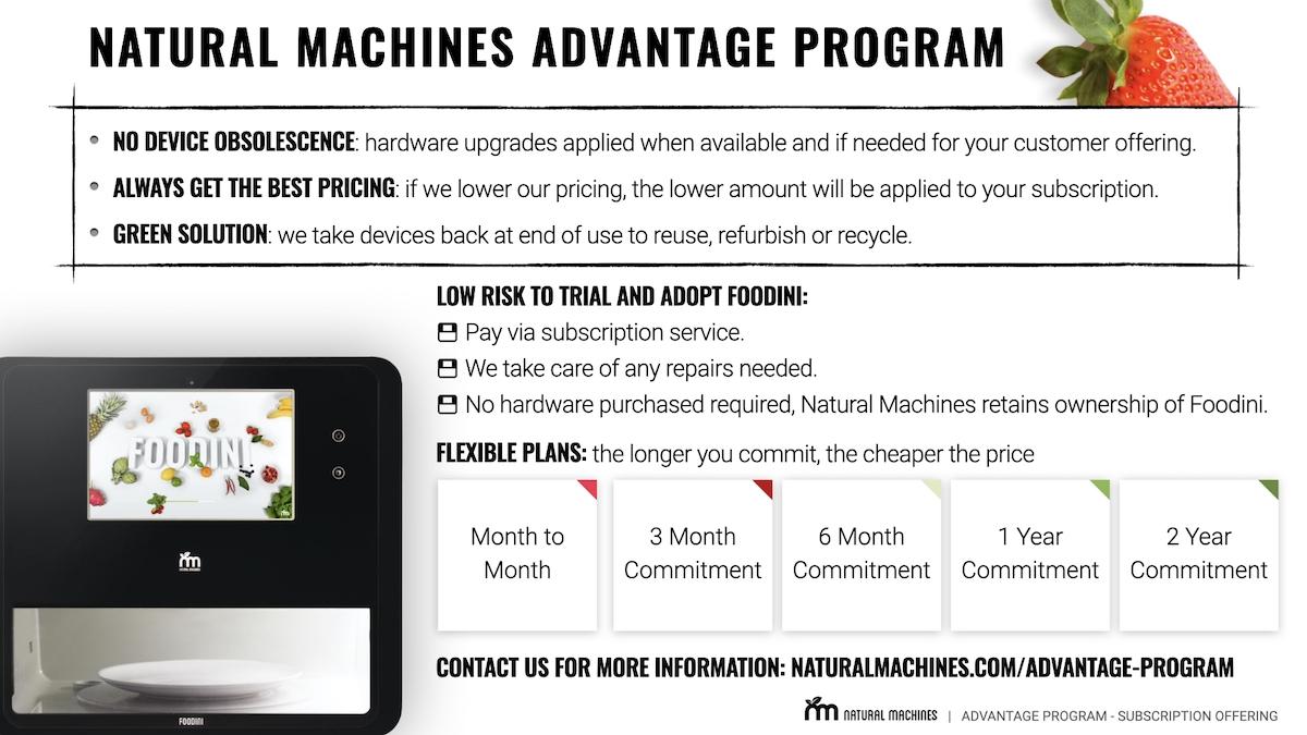 Natural Machines Advantage Program INFO